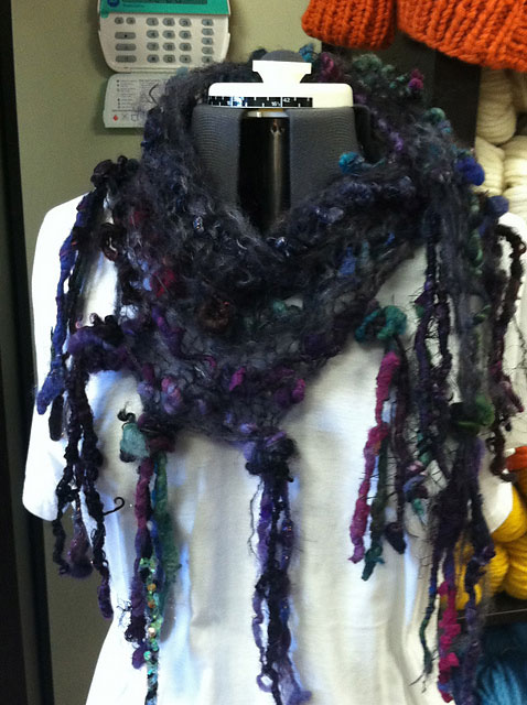 Written for textured art yarn and a coordinating thin yarn.Mohair is great, but any contrasting thin yarn works.